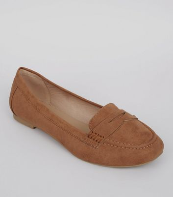 Wide Fit Tan Suedette Penny Loafers