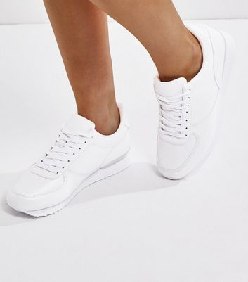 Wide Fit White Lace Up Trainers