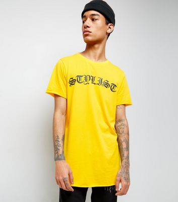 Yellow Stylist Print Longline T-Shirt