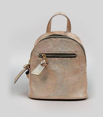 Bronze Holographic Curved Mini Backpack