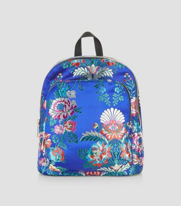 Bright Blue Sateen Floral Jaquard Mini Backpack