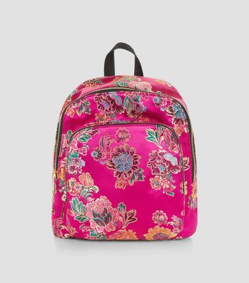 Bright Pink Sateen Floral Jaquard Mini Backpack