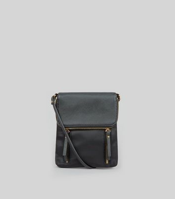 Black Fold Over Cross Body Bag