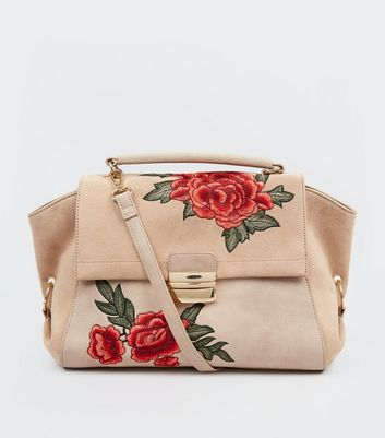Nude Pink Suedette Panel Floral Embroidered Satchel