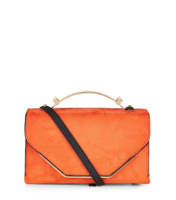 Orange Suedette Metal Handle Bag
