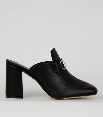 Black Leather Snaffle Trim Mules