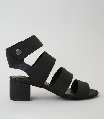 Black Popper Strap Block Heels