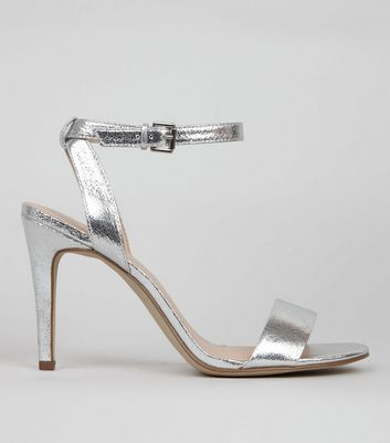Silver Crackle Metallic Ankle Strap Heels