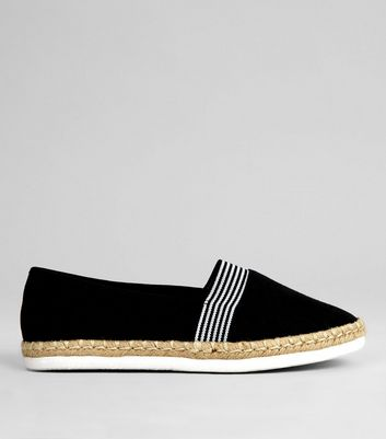 Wide Fit Black Contrast Stripe Canvas Espadrilles
