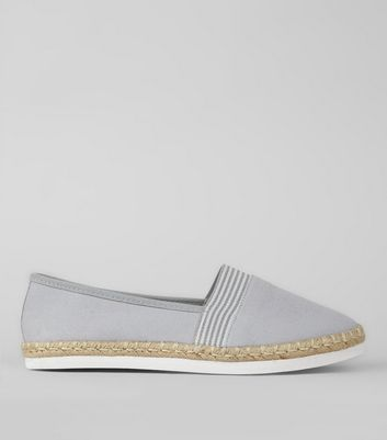Wide Fit Grey Contrast Stripe Canvas Espadrilles