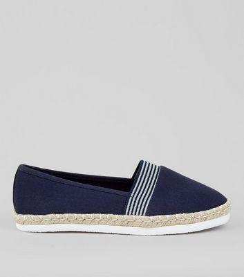 Wide Fit – Marineblaue Canvas-Espadrilles mit Kontraststreifen