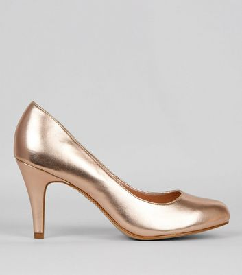 Wide Fit Rose Gold Court Shoes