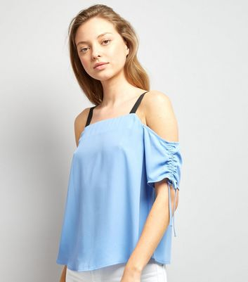 Blue Ruched Sleeve Top