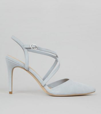 Pale Blue Pointed Cross Strap Heels