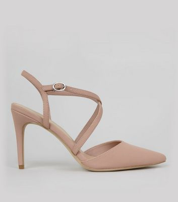 Shell Pink Pointed Cross Strap Heels