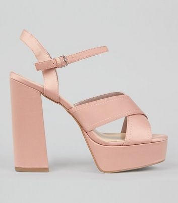 Wide Fit Pink Satin Cross Strap Platform Heels