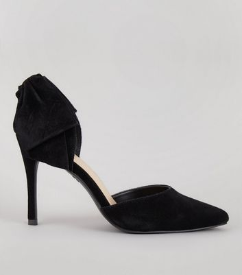 Black Suede Bow Back Pointed Heels