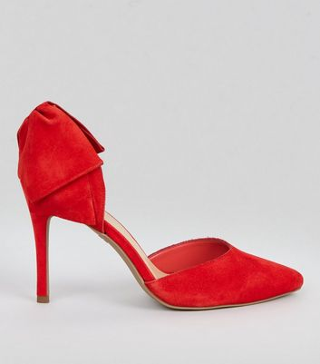 Red Suede Bow Back Pointed Heels