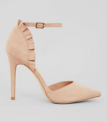 Nude Suedette Frill Trim Pointed Heels