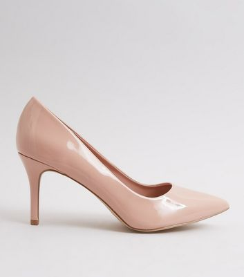 Nude Pink Patent Pointed Court Shoes