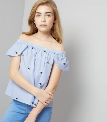 Teens Blue Stripe Bird Embroidered Bardot Neck Top