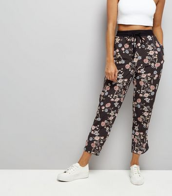 Petite Black Floral Print Tapered Leg Trousers