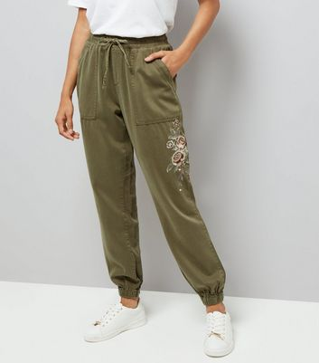 Petite Khaki Rose Embroidered Joggers