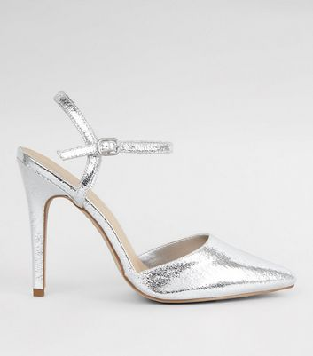 Silver Crackle Metallic Pointed Ankle Strap Heels