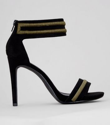 Black Contrast Trim Ankle Strap Heeled Sandals