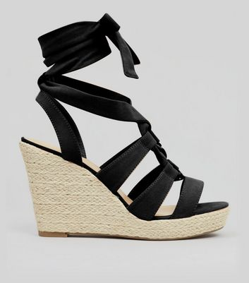Black Suedette Tie Up Espadrille Wedged Heels