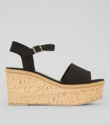 Black Suedette Cork Wedge Platform Heels