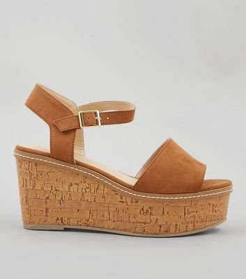 Tan Suedette Cork Wedge Platform Heels