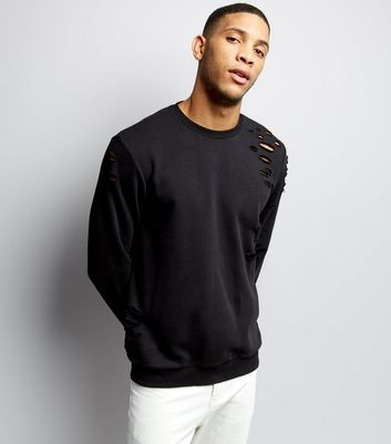 Black Ripped Crew Neck Sweater