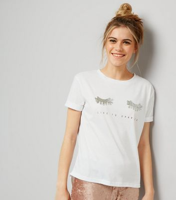 Cameo Rose White Live To Sparkle Print T-Shirt