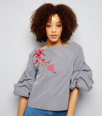 White Stripe Embroidered Gathered 3/4 Sleeve Top