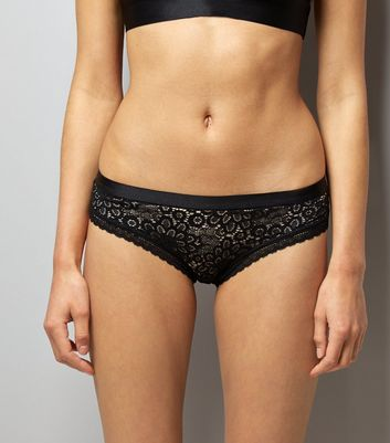Black Floral Lace Brazilian Briefs