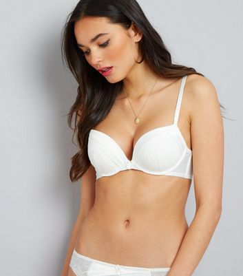 Cream Cuffed Satin Lace Trim Push Up Bra