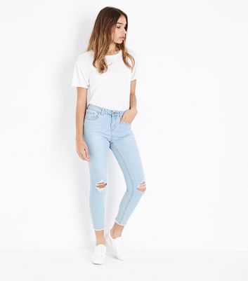 Blue Bleached Ripped Knee Skinny Jenna Jeans