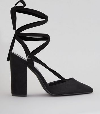 Black Suedette Tie Up Pointed Heels
