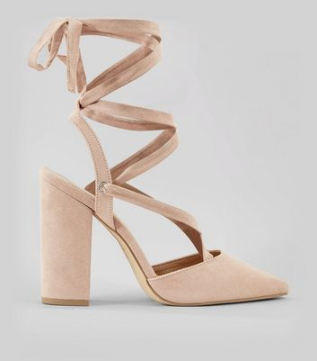 Nude Pink Suedette Tie Up Pointed Heels