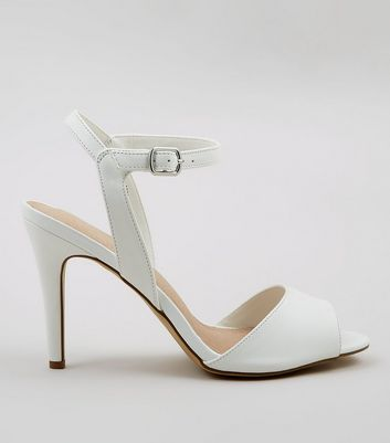 White Comfort Ankle Strap Heeled Sandals