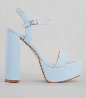 Pale Blue Platform Heel Sandals