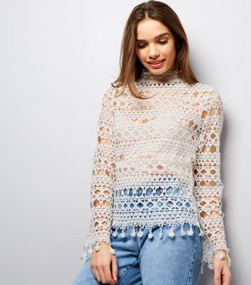 Parisian White Crochet Lace Funnel Neck Top
