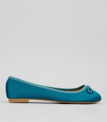 Blue Satin Ballet Pumps