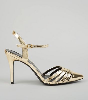 Gold Metallic Pointed Ankle Strap Heels