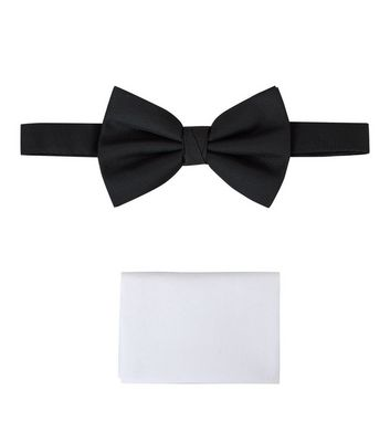 Black Bow Tie And Pocket Square Set