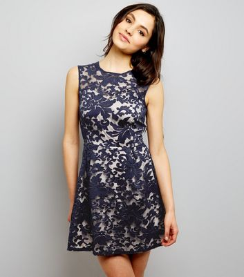 Mela Navy Embossed Overlay Dress