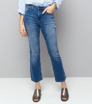 Blue Kick Flare Cropped Jeans
