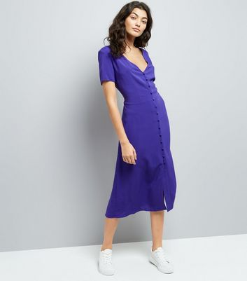 Purple V Neck Button Front Midi Dress