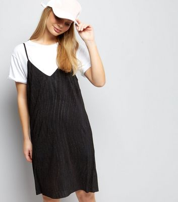 Black Textured Mini Slip Dress
